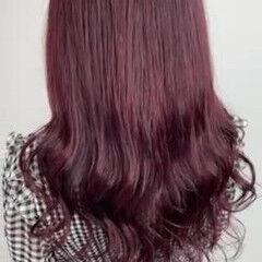 ピンクカラー ローズ ガーリー セミロング ヘアスタイルや髪型の写真・画像
