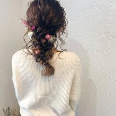 ヘアセット セミロング 編みおろし 結婚式 ヘアスタイルや髪型の写真・画像