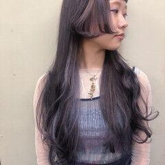 ラベンダーアッシュ ラベンダーグレー ハイライト ガーリー ヘアスタイルや髪型の写真・画像