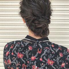 ロング フェミニン グレー ヘアアレンジ ヘアスタイルや髪型の写真・画像