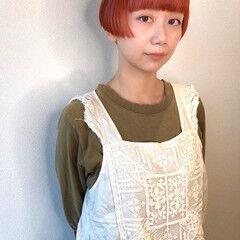 前髪あり オレンジカラー おかっぱ オレンジ ヘアスタイルや髪型の写真・画像
