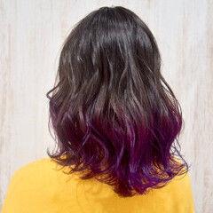 紫 ミディアム グラデーションカラー ピンクバイオレット ヘアスタイルや髪型の写真・画像