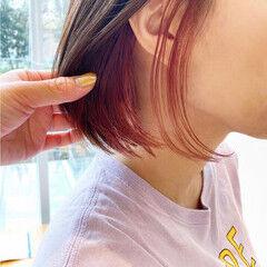 ショートボブ インナーピンク ボブ ミニボブ ヘアスタイルや髪型の写真・画像