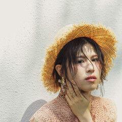 麦わら帽子 ボブ 簡単ヘアアレンジ ナチュラル ヘアスタイルや髪型の写真・画像