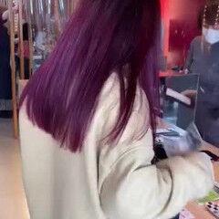 ラズベリーピンク バレイヤージュ セミロング ストリート ヘアスタイルや髪型の写真・画像