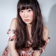 ウェーブ ロング 黒髪 ぱっつん ヘアスタイルや髪型の写真・画像