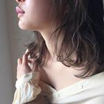 ミディアム 黒髪 ハイライト パーマ