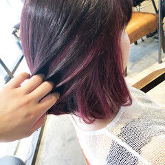 ガーリー チェリーレッド レッドカラー イヤリングカラー ヘアスタイルや髪型の写真・画像