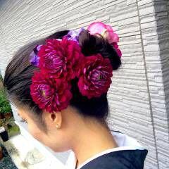 花火大会 和装 夏 花 ヘアスタイルや髪型の写真・画像