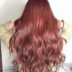 ダブルカラー ロング ラベンダーピンク ガーリー ヘアスタイルや髪型の写真・画像