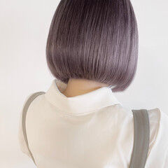ショートヘア ボブ ナチュラル 切りっぱなしボブ ヘアスタイルや髪型の写真・画像