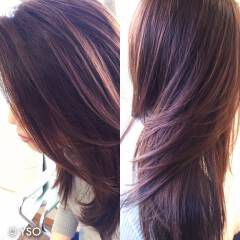 マルサラ フェミニン モテ髪 コンサバ ヘアスタイルや髪型の写真・画像