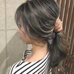 セミロング ホワイトブリーチ ホワイトカラー バレイヤージュ ヘアスタイルや髪型の写真・画像