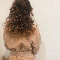 ハーフアップ ヘアアレンジ お団子アレンジ ヘアセット ヘアスタイルや髪型の写真・画像