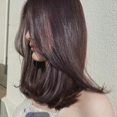 セミロング ラベンダーカラー ピンクブラウン ラベンダーピンク ヘアスタイルや髪型の写真・画像