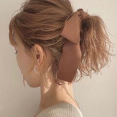セルフヘアアレンジ ローポニー ナチュラル ミニボブ ヘアスタイルや髪型の写真・画像