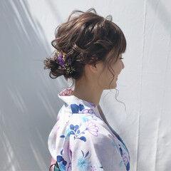 浴衣アレンジ セミロング 浴衣ヘア 花火大会 ヘアスタイルや髪型の写真・画像
