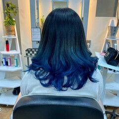 モード イルミナカラー ブルー ブルーアッシュ ヘアスタイルや髪型の写真・画像