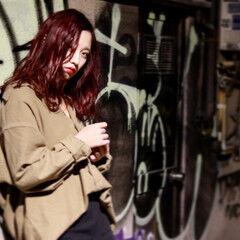 色気 外国人風 ベリーピンク ボブ ヘアスタイルや髪型の写真・画像