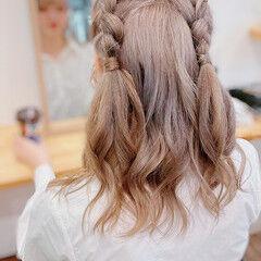 ヘアアレンジ 編み込みヘア ミディアム ガーリー ヘアスタイルや髪型の写真・画像