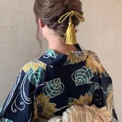 くるりんぱ まとめ髪 浴衣アレンジ ミルクティーベージュ ヘアスタイルや髪型の写真・画像