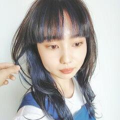 モード セミロング インナーカラー ウルフカット ヘアスタイルや髪型の写真・画像