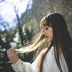 ミルクティーベージュ ヌーディベージュ ナチュラルベージュ ロング ヘアスタイルや髪型の写真・画像