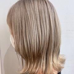ベージュ ヌーディーベージュ フェミニン ボブ ヘアスタイルや髪型の写真・画像