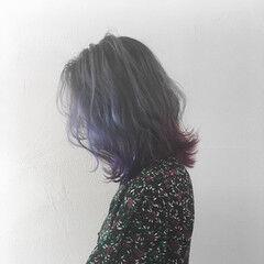 モード カラーバター アメジスト ボブ ヘアスタイルや髪型の写真・画像