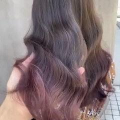 ピンクアッシュ ナチュラル ブリーチなし 透明感カラー ヘアスタイルや髪型の写真・画像