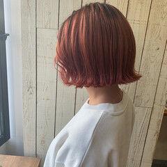 チェリーピンク ガーリー ボブ ミニボブ ヘアスタイルや髪型の写真・画像
