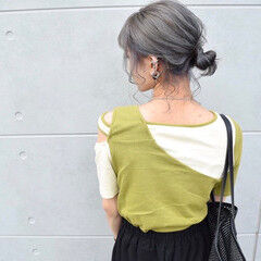 アディクシーカラー シルバーグレージュ グレージュ ガーリー ヘアスタイルや髪型の写真・画像