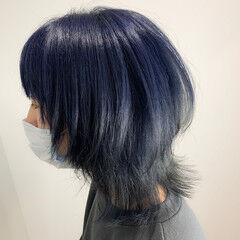 ストリート ブルーアッシュ ダブルカラー ブリーチ ヘアスタイルや髪型の写真・画像
