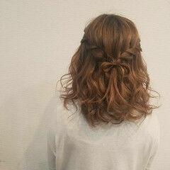 ミディアム ガーリー ハーフアップ ウォーターフォール ヘアスタイルや髪型の写真・画像