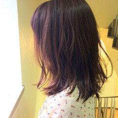 秋 ガーリー ベリーピンク イルミナカラー ヘアスタイルや髪型の写真・画像