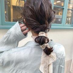 ヘアアレンジ ナチュラル 大人かわいい 切りっぱなしボブ ヘアスタイルや髪型の写真・画像