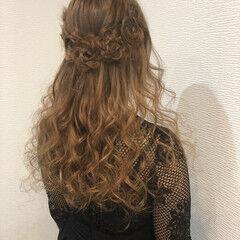 ハーフアップ 編み込み 花 ガーリー ヘアスタイルや髪型の写真・画像