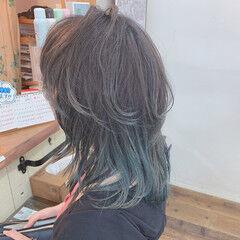 ウルフカット ミント ストリート インナーカラー ヘアスタイルや髪型の写真・画像