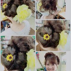 お祭り 和装 セミロング 甘め ヘアスタイルや髪型の写真・画像