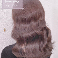 ラベンダーグレージュ ナチュラル ロング グレージュ ヘアスタイルや髪型の写真・画像