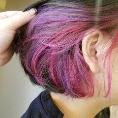デザインカラー ラベンダーピンク ボブ モード ヘアスタイルや髪型の写真・画像