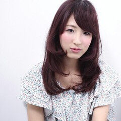 ピンク セミロング 姫カット ガーリー ヘアスタイルや髪型の写真・画像