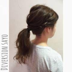 ポニーテール ヘアアレンジ ラフ ローポニーテール ヘアスタイルや髪型の写真・画像