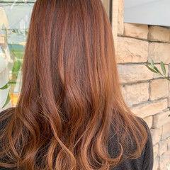 暖色 透明感カラー デート コーラル ヘアスタイルや髪型の写真・画像