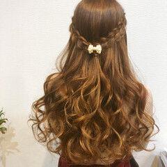 ロング ハーフアップ フェミニン ヘアセット ヘアスタイルや髪型の写真・画像