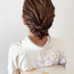 留袖 エレガント 訪問着 ミディアム ヘアスタイルや髪型の写真・画像