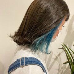 ナチュラル ハイトーンボブ ナチュラル可愛い インナーカラー ヘアスタイルや髪型の写真・画像
