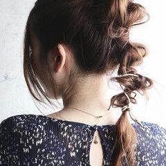 ナチュラル ヘアアレンジ ポニーテールアレンジ セミロング ヘアスタイルや髪型の写真・画像