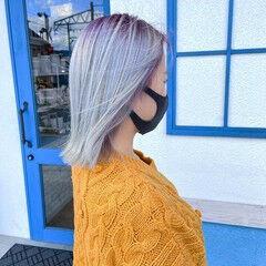 フェミニン 圧倒的透明感 ボブ ホワイト ヘアスタイルや髪型の写真・画像