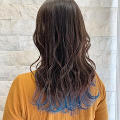 裾カラー 派手髪 ロング ブルー ヘアスタイルや髪型の写真・画像